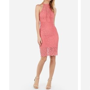 Express Coral Pink Lace Halter Dress